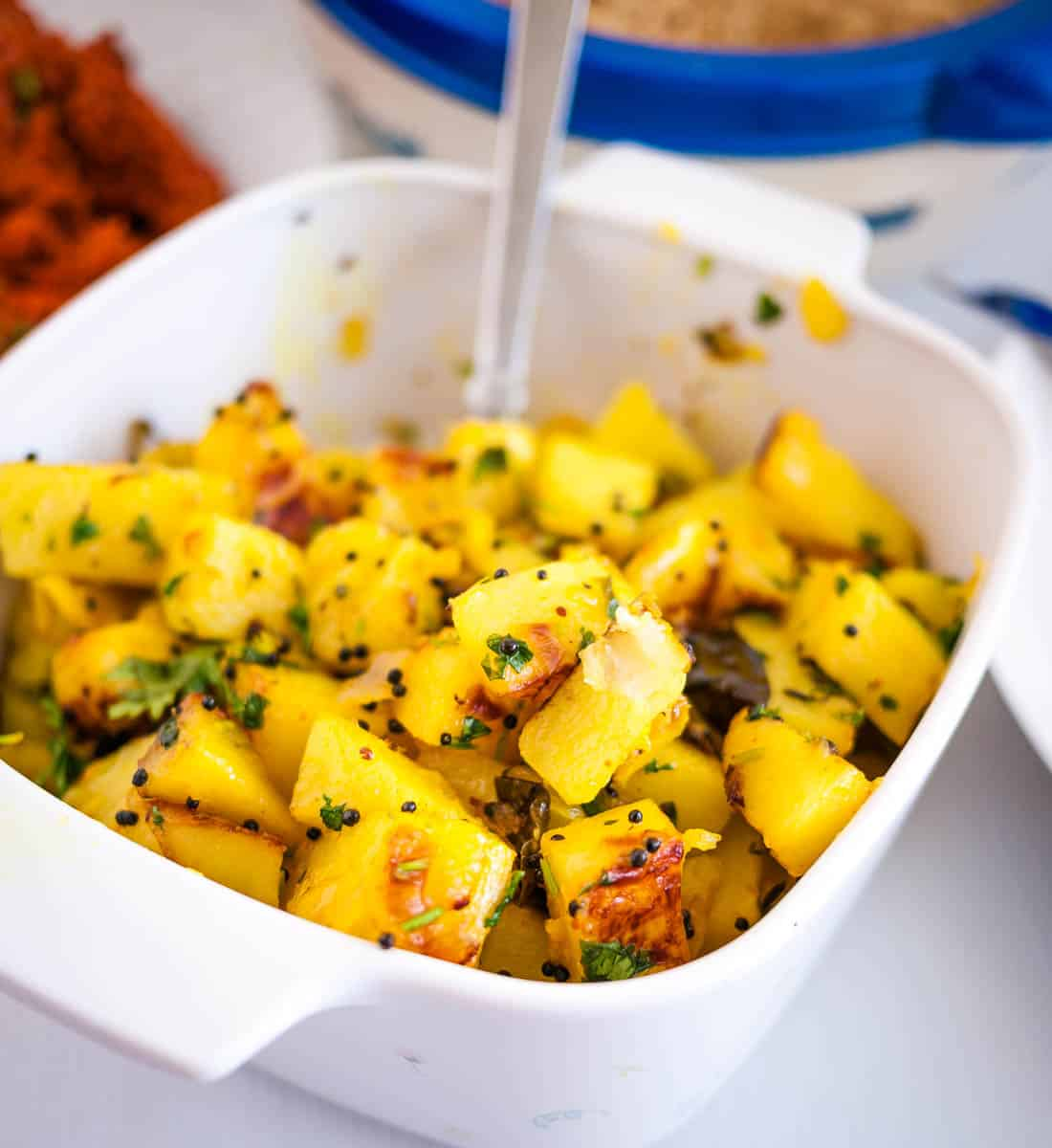 A dish with potatoes made with Indian spices.