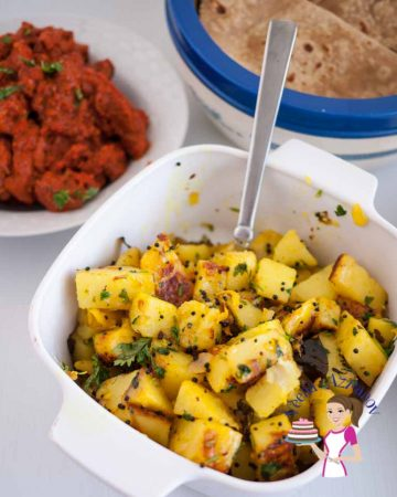 A bowl of spiced Indian potatoes.