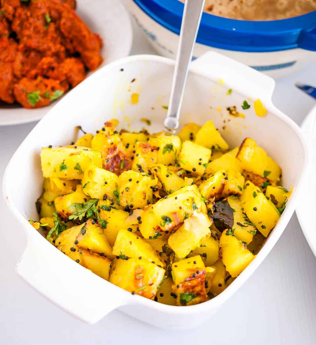 A dish with Indian potatoes spiced.
