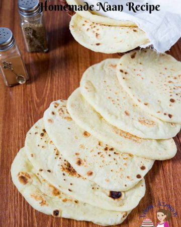 A stack of naan on a table.