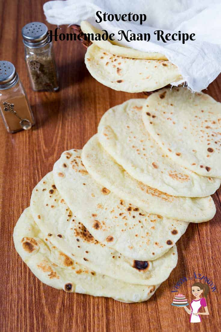 A Pinterest optimized image for stovetop homemade naan recipe made with yogurt, egg, and all-purpose flour