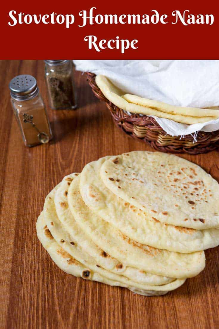 A Pinterest Optimized image for Homemade Naan Bread Recipe made on the stovetop with all purpose flour, yogurt and egg