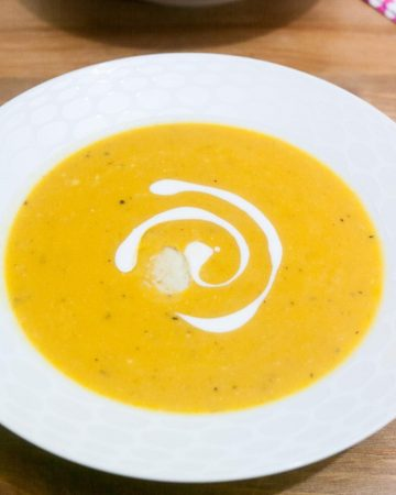A bowl of butternut squash soup.