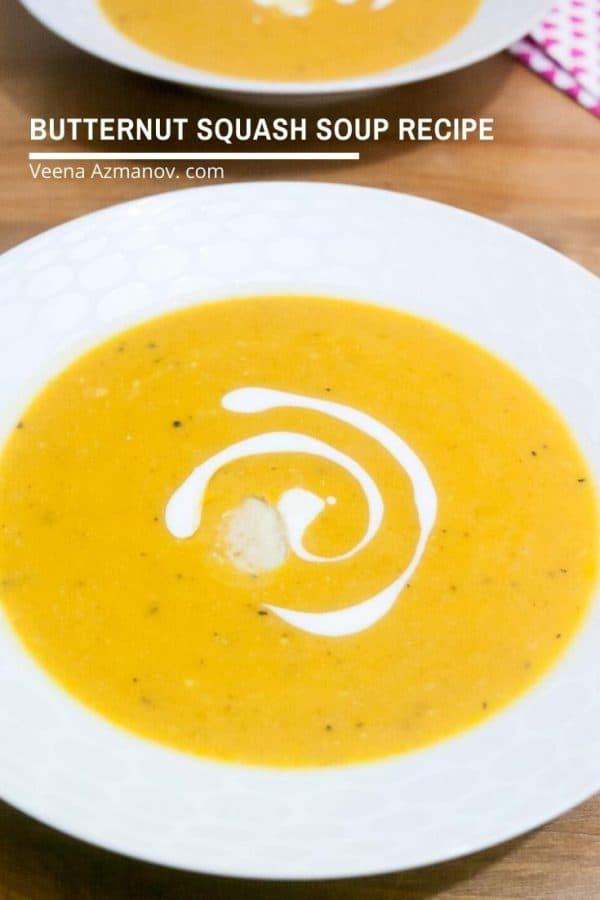 A bowl of butternut squash soup.