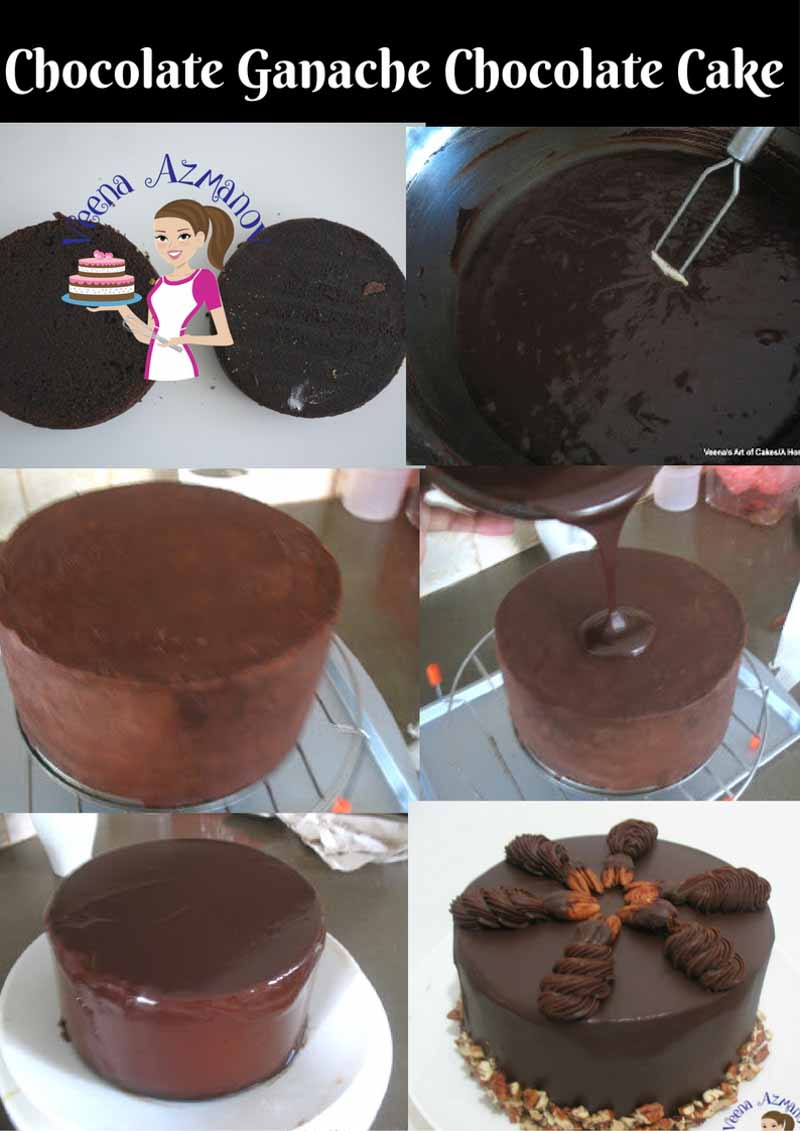 Progress photos of making a Chocolate ganache cake.