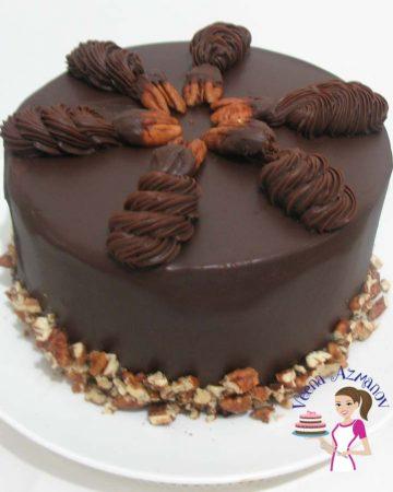 A Chocolate ganache cake.