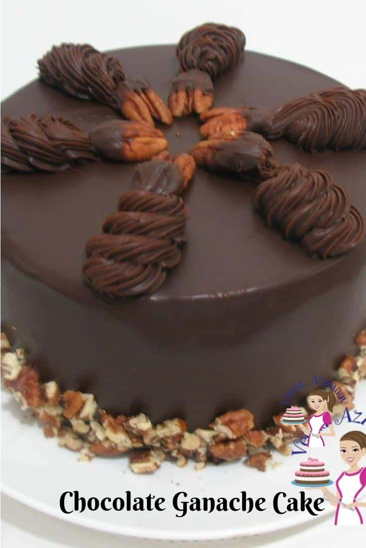 A close up of a Chocolate ganache cake.