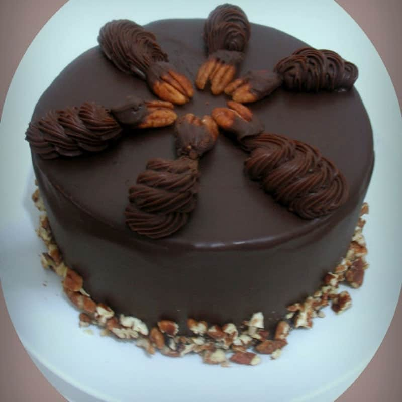 An image optimized for social media share for this chocolate ganache chocolate cake recipe a true chocolate lovers dream cake.