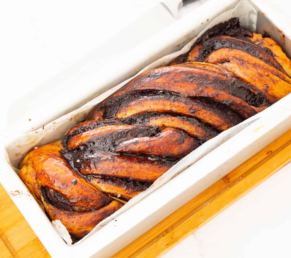 A babka in a loaf pan.