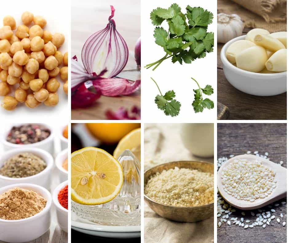A collage of the ingredients for making falafel.
