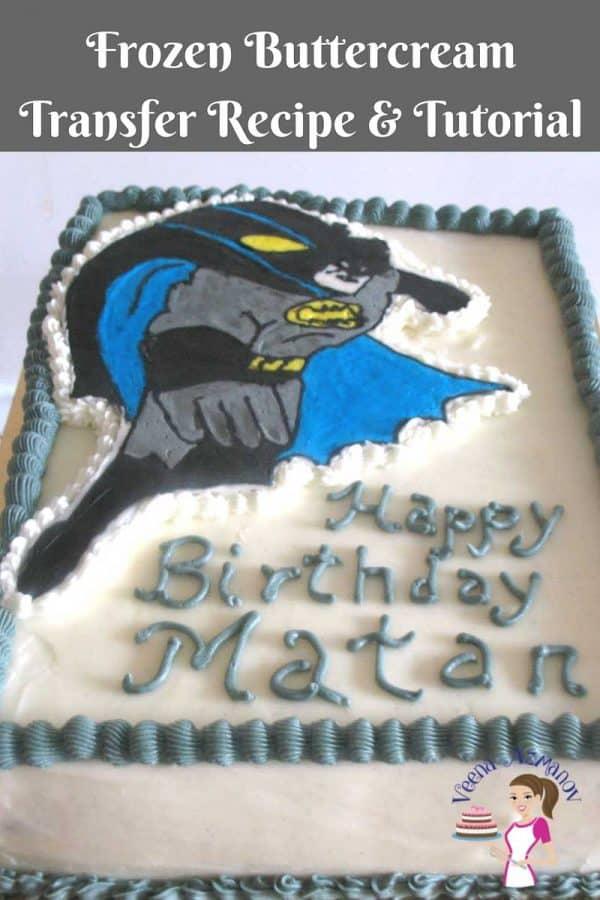 An edible image of Batman made from frozen buttercream.