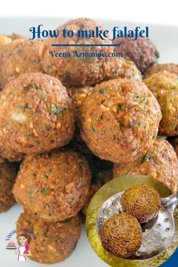 Pinterest image - deep fried falafel.