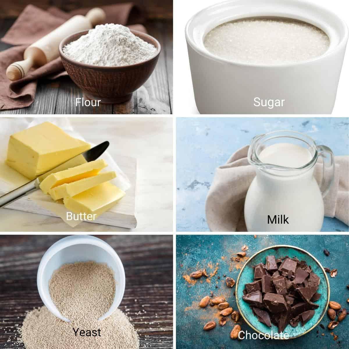 Ingredients for chocolate babka.