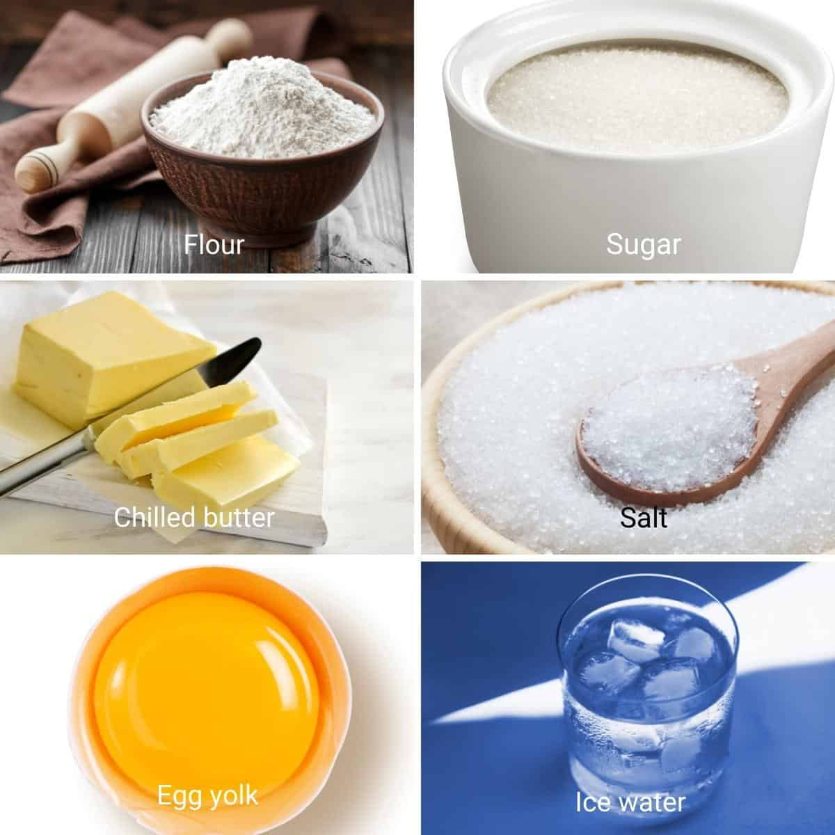 Ingredients for shortcrust pastry.