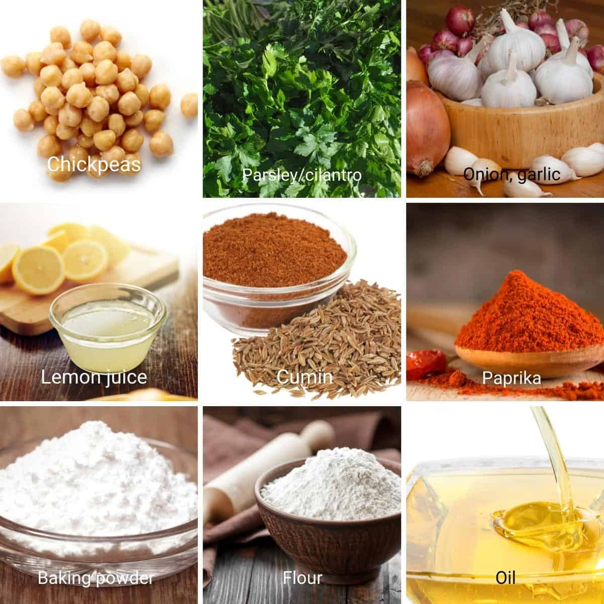 Collage with Ingredients for falafel.