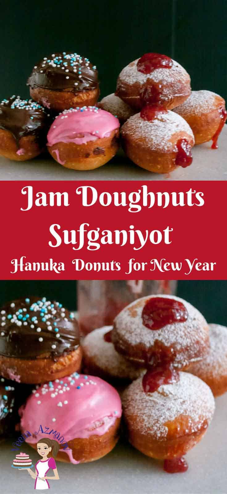 Weather you call them Jam Doughnuts, Sufganiyot, Sufganiyah, Donuts, Hanuka bread these are delicious deep fried treats. Traditionally filled with sweet jam and dusted with powder sugar but can be glazed with chocolate or other flavors #doughtnuts #donuts #jamdonuts #jamdoughnuts #sufganiyot #sufganiyots #hanukadonuts #hauka #bread #pastry #jampastry #homemade