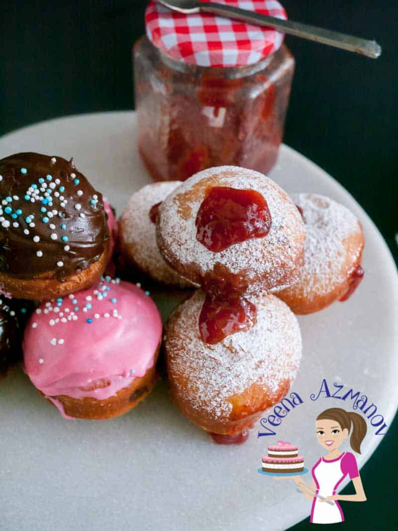 Weather you call them Jam Doughnuts, Sufganiyot, Sufganiyah, Donuts, Hanuka bread these are delicious deep fried treats. Traditionally filled with sweet jam and dusted with powder sugar but can be glazed with chocolate or other flavors.