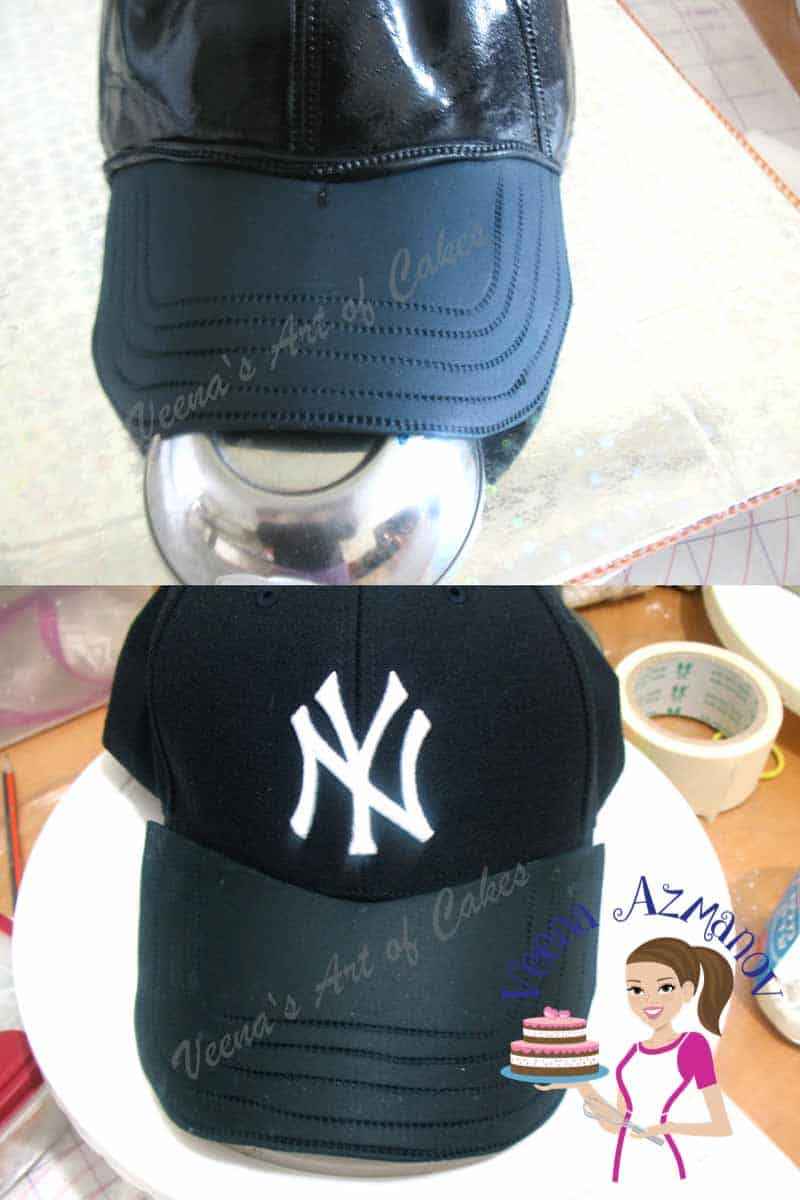 A baseball cap cake can be a perfect cake for a boy or man celebrating his birthday.  This one is specifically a New York Yankees Cap Cake but most baseball caps can be made the same way.