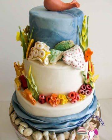 A three-tier ocean theme cake.