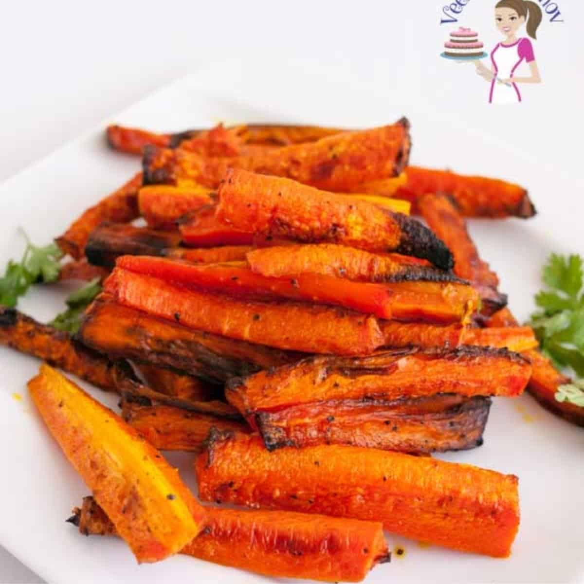 A platter of baked carrots