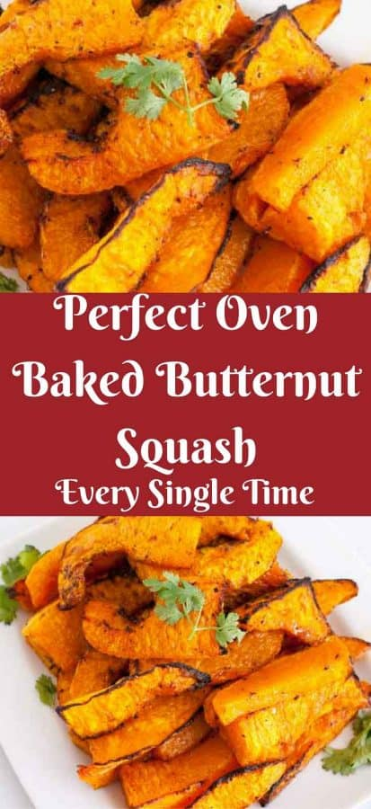 An image optimized for social sharing for baked butternut squash aka roasted butternut squash recipe