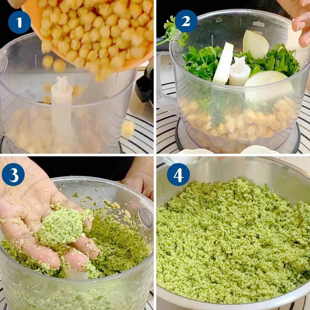 progress pictures making falafel mixture.