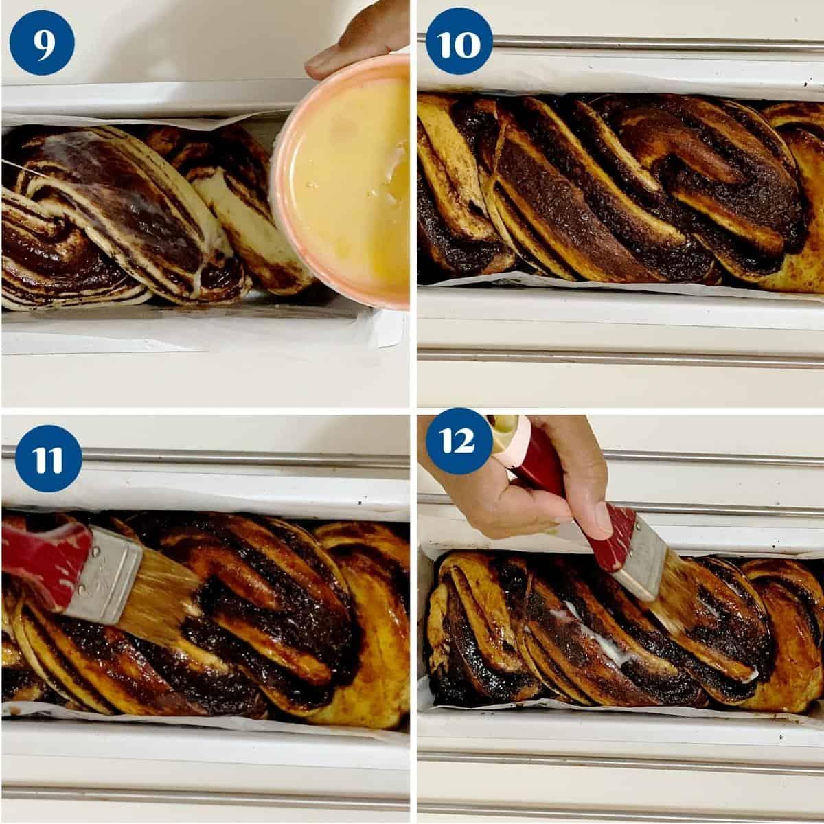 Progress pictures baking the chocolate babka.