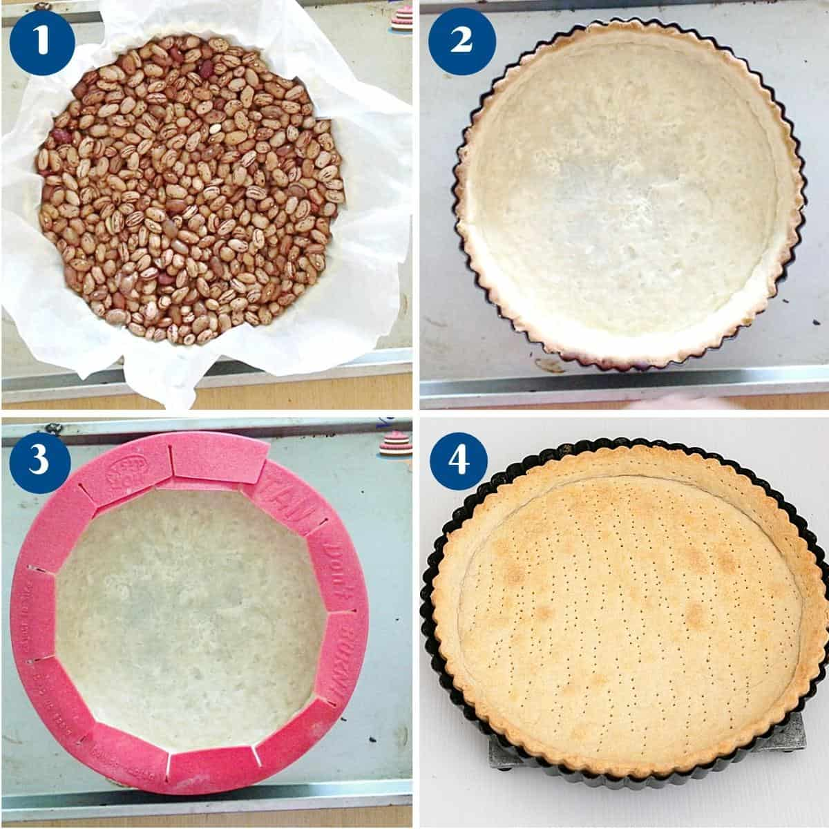 Progress pictures how to make a fully baked short crust pastry.