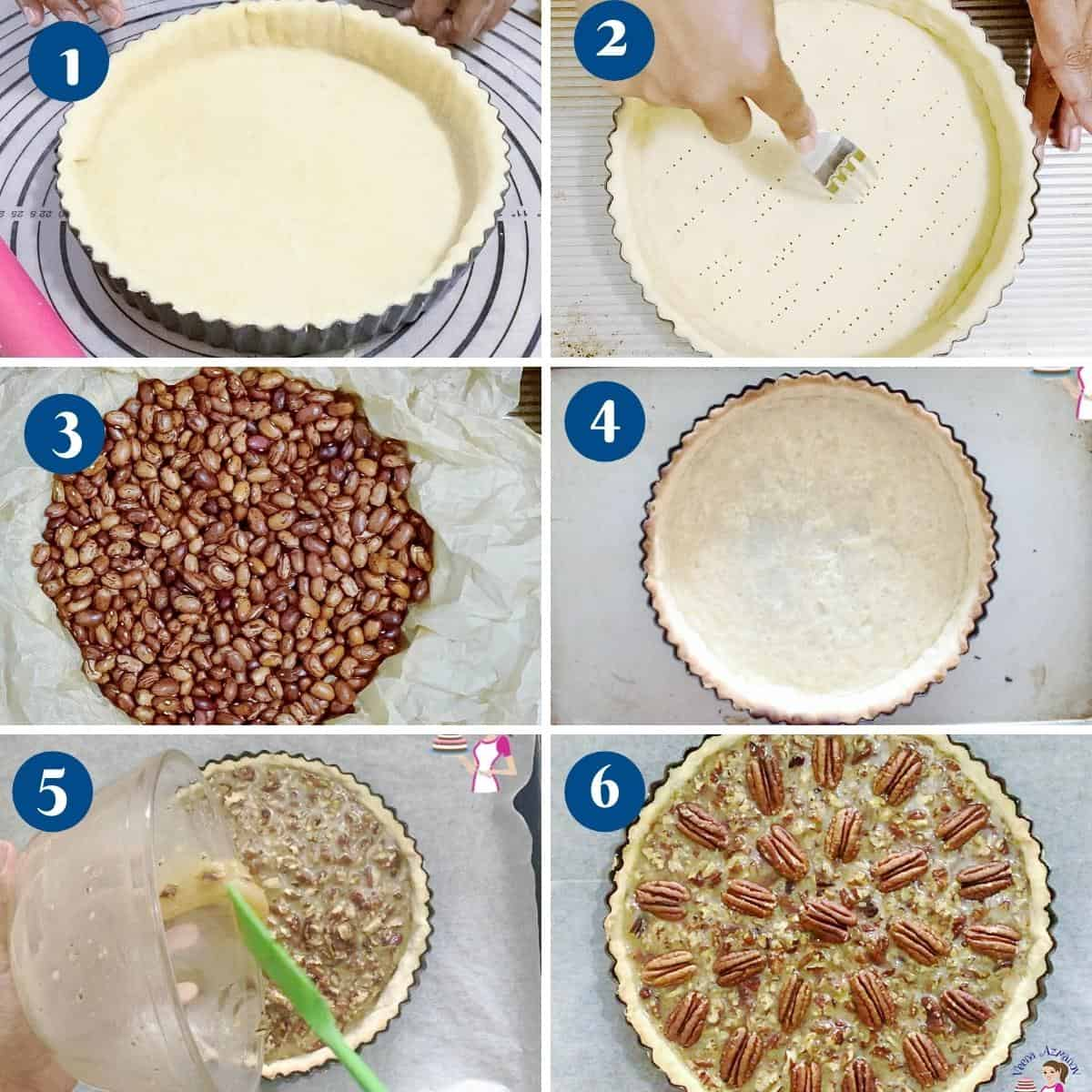 Progress pictures how to make a partially baked tart crust.