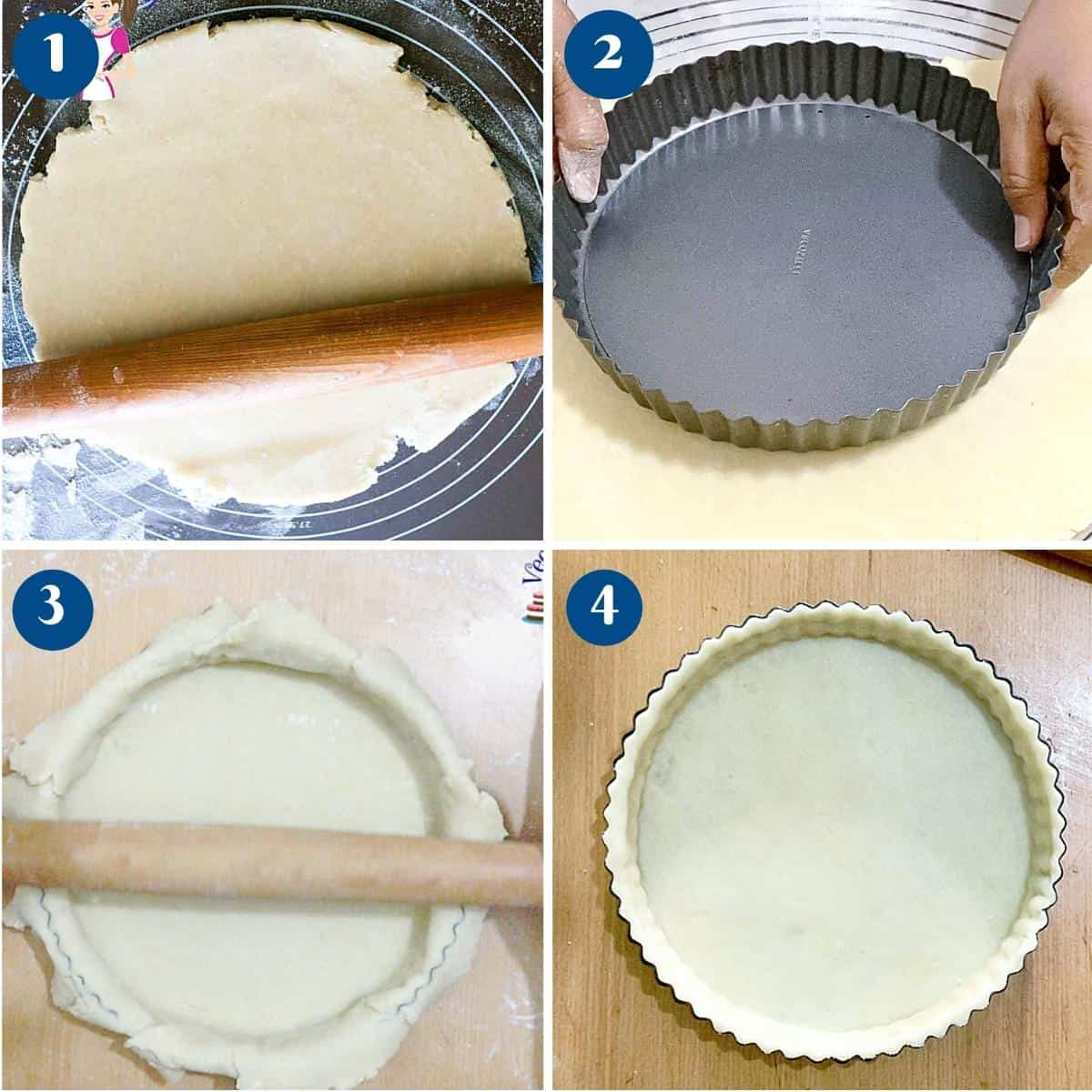Progress pictures how to line a tart pan with crust.