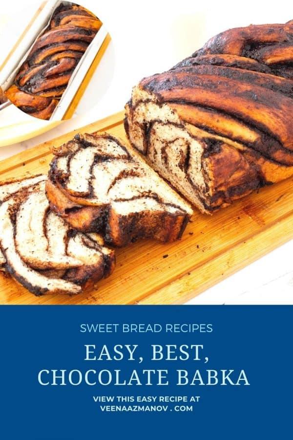 Pinterest image Recipe for chocolate babka.