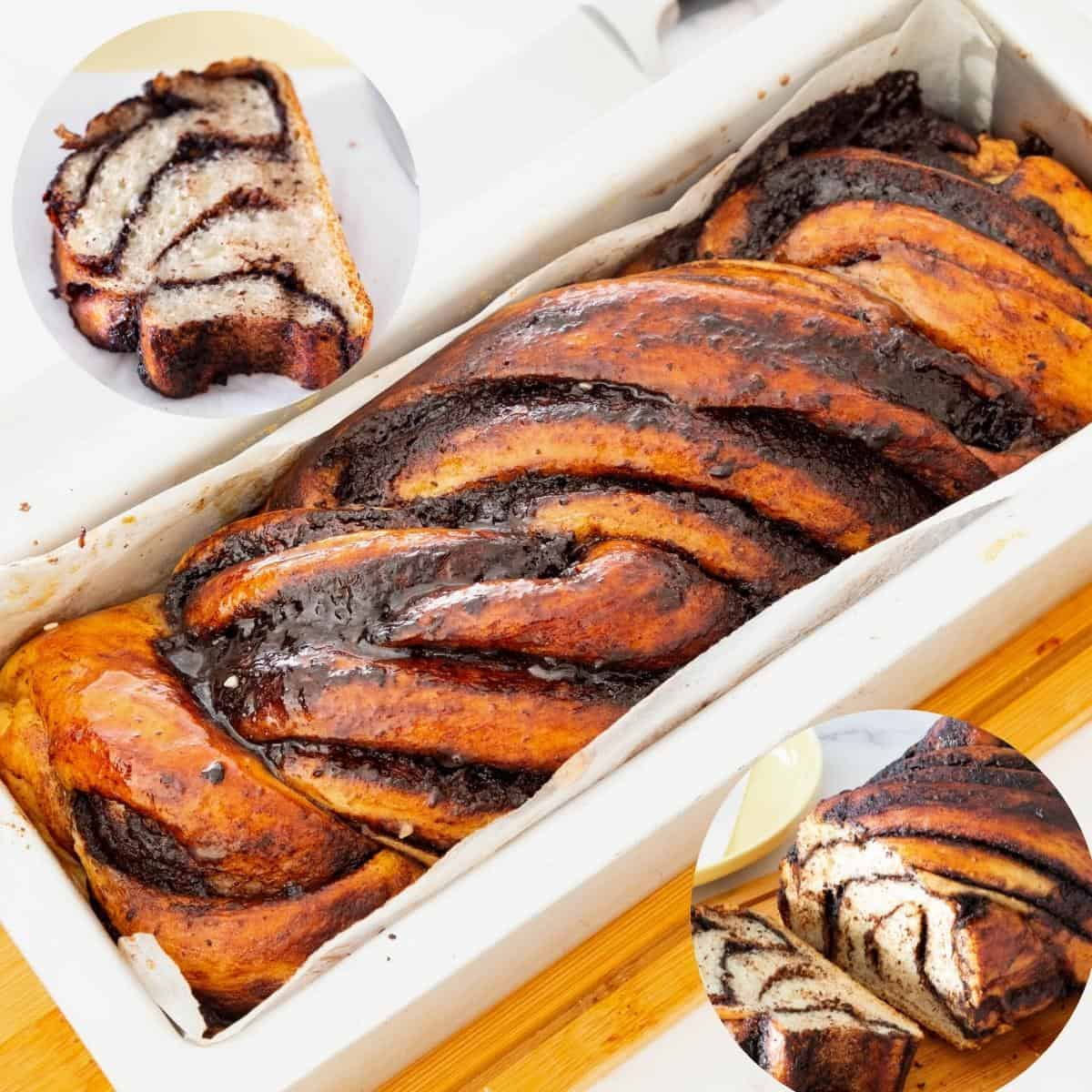 Babka with chocolate in a loaf pan.