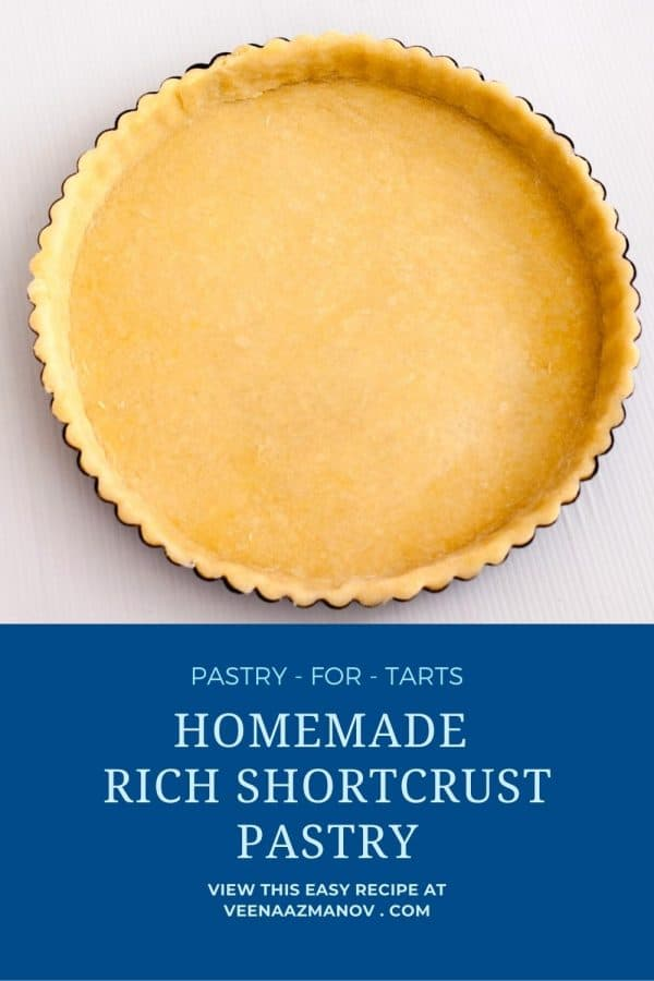 Pinterest image - how to make short crust pastry dough.