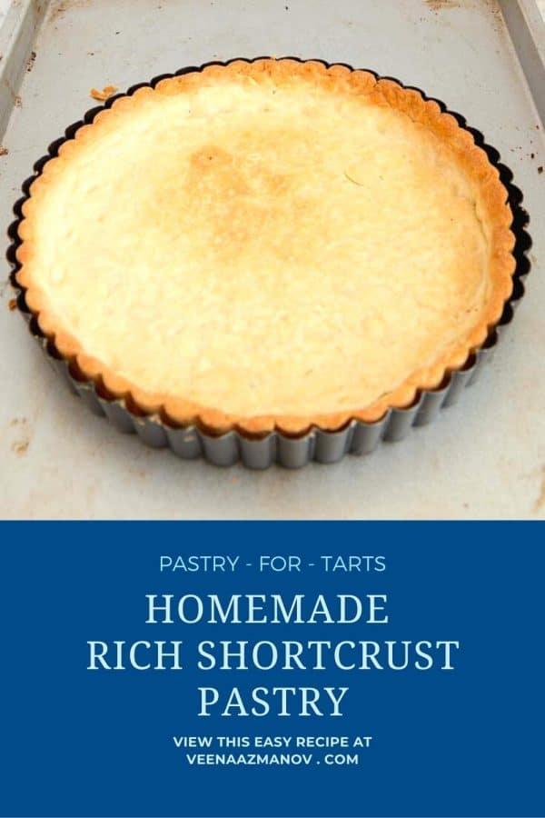 Pinterest image for tart crust recipe.