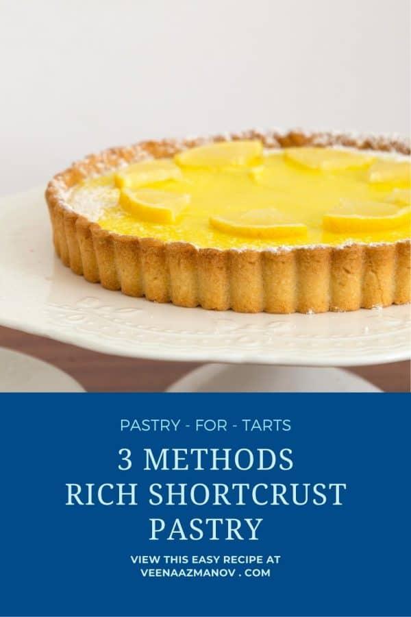 Pinterest image for short crust pastry.