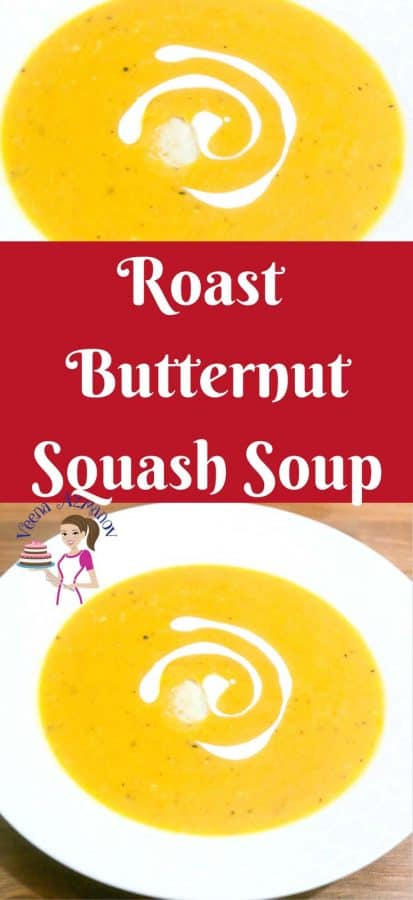 A Pinterest optimized image for this roasted butternut squash soup with a step by step video tutorial.