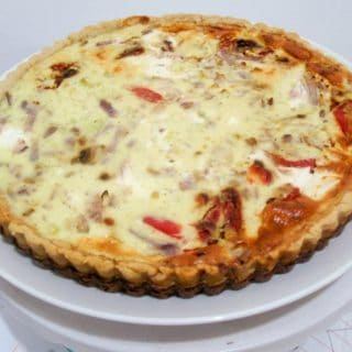 Homemade Quiche, Roasted Red Peppers, Goat Cheese in homemade Pie Crust