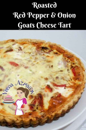 Roasted Red Pepper Onion Goats Cheese Tart