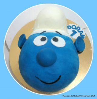 Smurf Face Cake