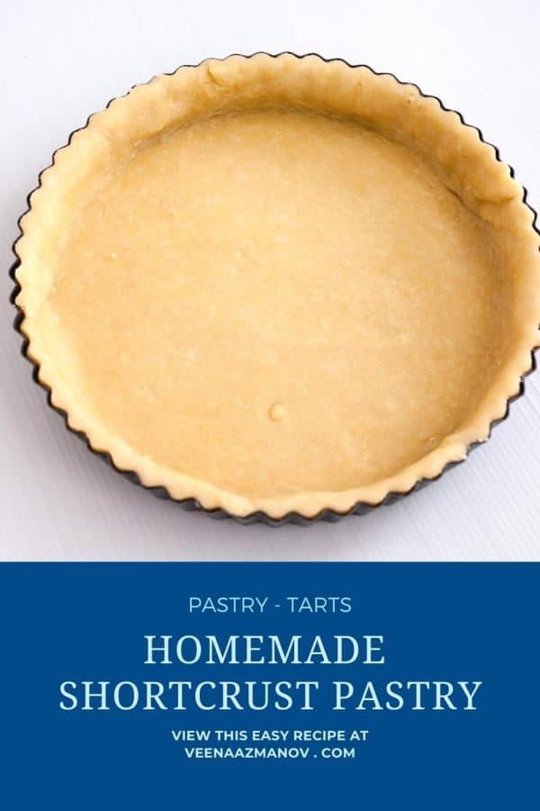 Pinterest image for shortcrust for tart.