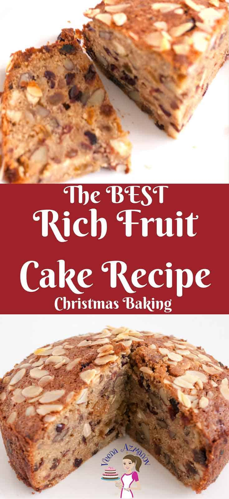A Pinterest optimized image for Rich Fruit Cake - Christmas Baking from scratch. Made with orange juice with the option to use alcohol