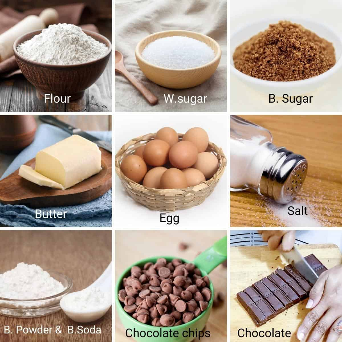 Ingredients Shot Collage for chocolate chip cookies