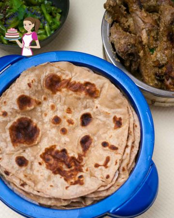 A stack of chapatis in a chapati dish.