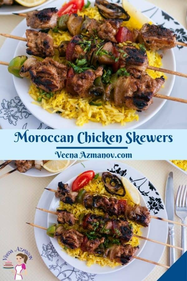 Pinterest image for Moroccan chicken skewers