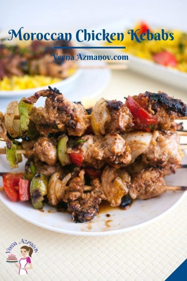 Pinterest image for Moroccan chicken skewers.