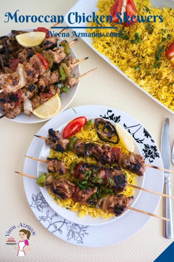 Pinterest image for Moroccan chicken on skewers.