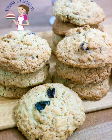 A stack of oatmeal cookies.