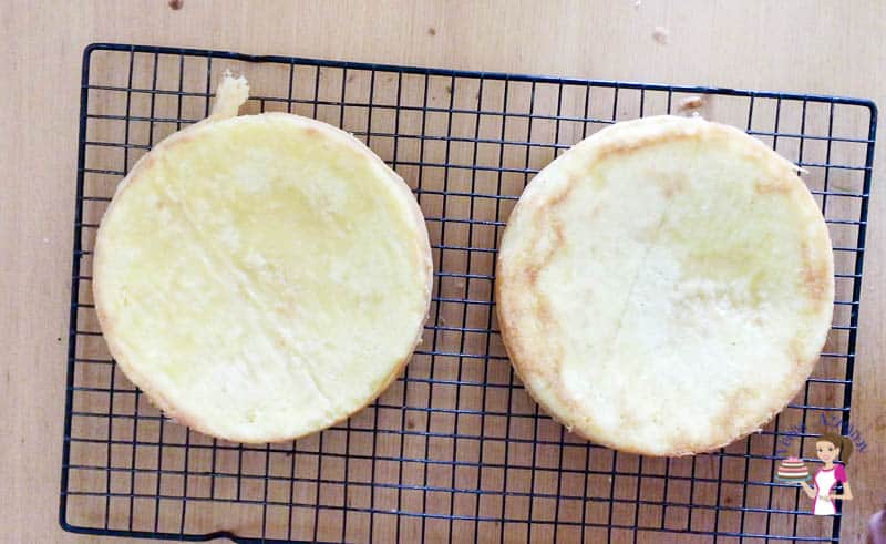 Inver the sponge cakes immediately as baked