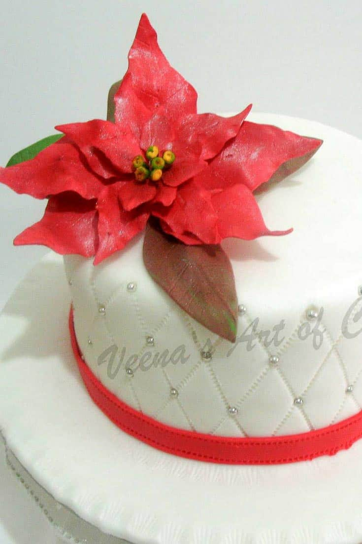 Gumpaste Poinsettia Tutorial with Leaf Cutters