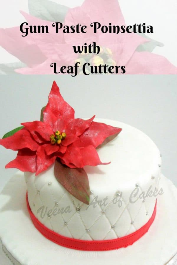 A Christmas cake with a sugar poinsettia flower on top.